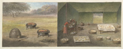 Two separate drawings on one sheet: portable bread ovens, and the interior of the bread making tent
